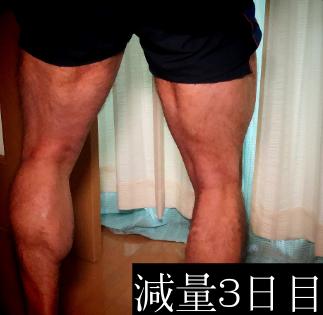 減量3日目の脚バックポーズ写真
