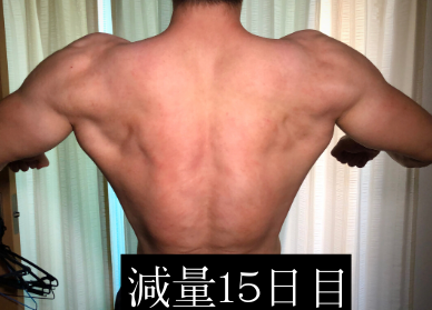 減量15日目のバックレストポーズ写真