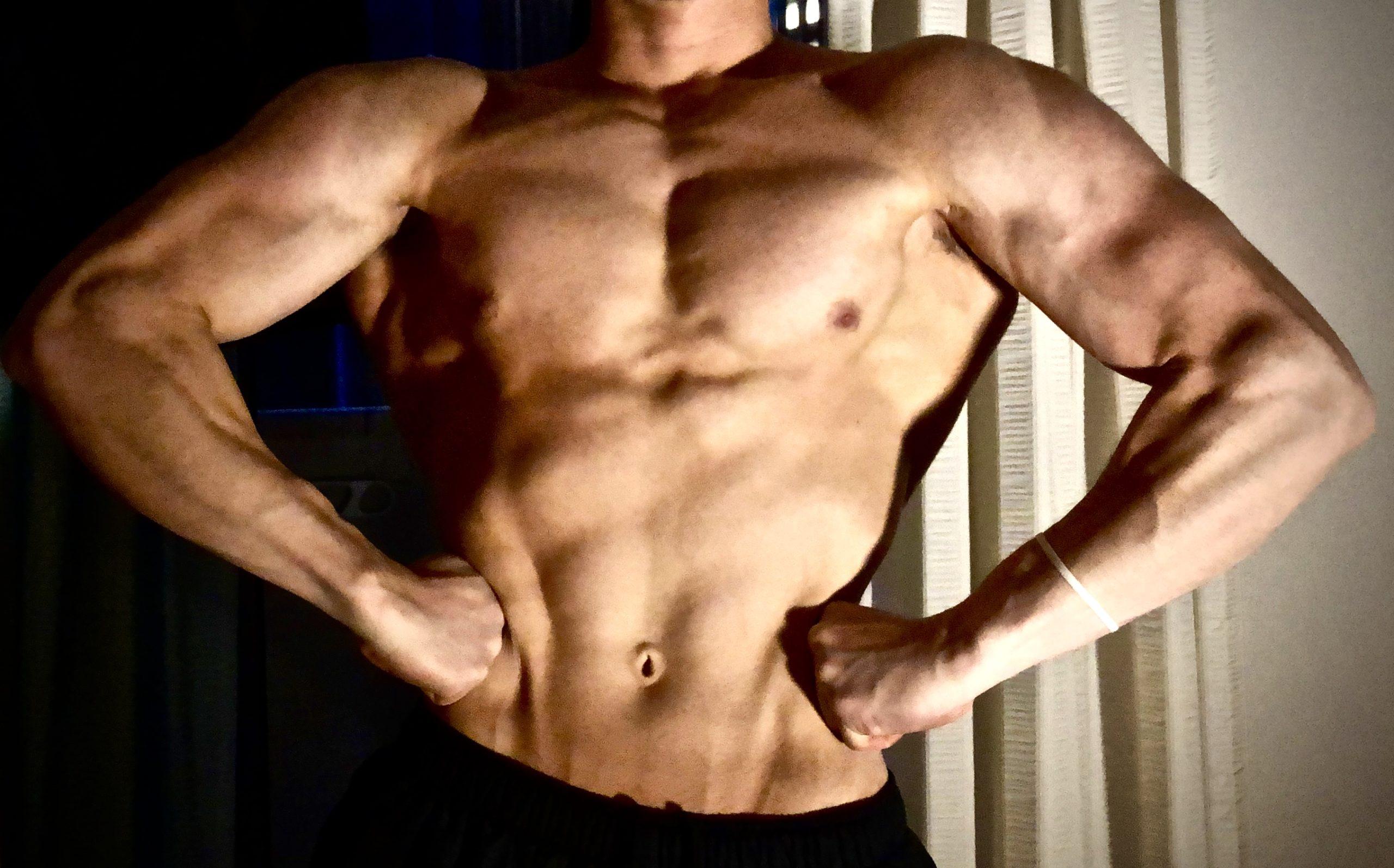 大会の前の減量中の筋肉